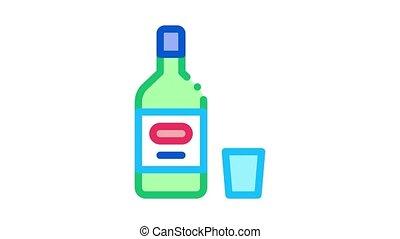 Alcohol Bottle Icon Animation. color Alcohol Bottle animated icon on white background