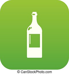 Alcohol bottle icon green vector