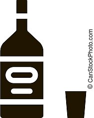 Alcohol Bottle Icon Vector Glyph Illustration