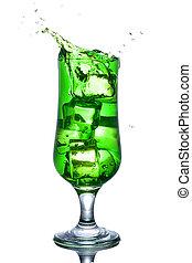 Alcohol, cóctel, aislado, salpicadura, verde, blanco