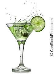 alcohol, cóctel, aislado, salpicadura, verde blanco, cal