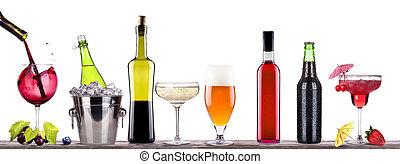 alcohol, cóctel, cerveza, champaña, vino, rojo