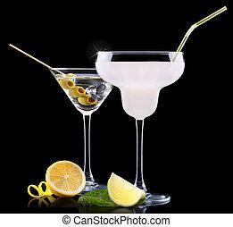 alcohol, cóctel, conjunto, con, frutas del verano