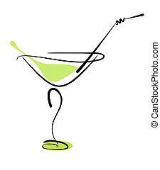 alcohol, cóctel, en, vidrio, con, paja