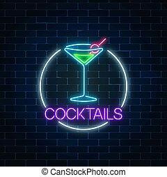 alcohol, cóctel, fondo., pared, neón, marco, gas, señal, ...