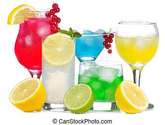 alcohol, cócteles, con, fruits, y, bayas