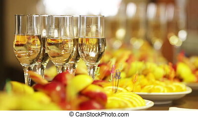 Alcohol - Champagne and wine on a celebratory banquet