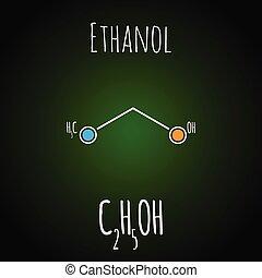 alcohol, chemestry, esquelético, molecule., ilustración,...