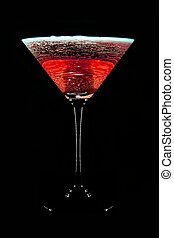 alcohol cocktail is isolated on a black background