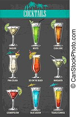 Alcohol cocktail set - margarita, sex on the beach, pina colada, daiquiri, mojito, cuba libre, cosmopolitan, blue lagoon, tequila sunrise. Vintage vector engraving poster, menu for summer beach party