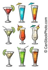 Alcohol cocktail set - margarita, sex on the beach, pina colada, daiquiri, mojito, cuba libre, cosmopolitan, blue lagoon, tequila sunrise. Vintage vector engraving poster, menu for summer beach party.