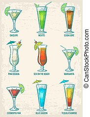 Alcohol cocktail set - margarita, sex on the beach, pina colada, daiquiri, mojito, cuba libre, cosmopolitan, blue lagoon, tequila sunrise. Vintage vector engraving poster, menu summer beach party
