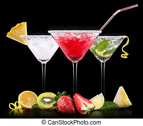 alcohol cocktail set with summer fruits - alcohol cocktail...