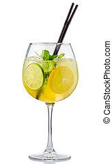 alcohol, cocktail, vrijstaand, vruchten, fris, munt