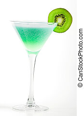 Alcohol cocktail with kiwi in martini glass