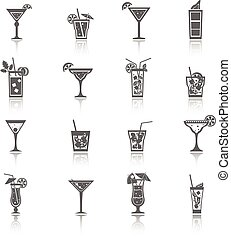 Alcohol Cocktails Icons black - Alcohol cocktails icons...