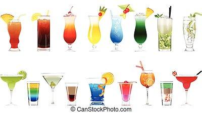 Alcohol cocktails set.