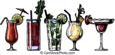 alcohol cocktails set - ink drawing and watercolor vector...