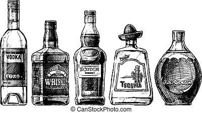 alcohol., distillato, bottiglie, bever