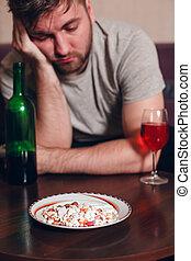 Alcohol, dormido, adicto, tabla, tiene, caído, hombre