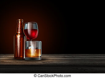 Alcohol on a bar on a black background as a bottle of beer...