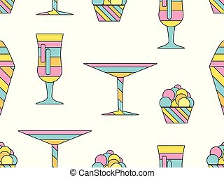Alcohol drink and ice cream seamless pattern. Colorful cocktail martini. Vector illustration