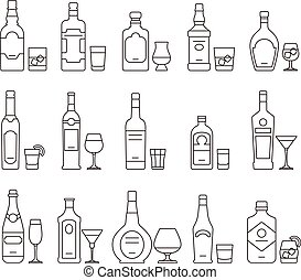 Alcohol drink beverages outline icons, bottles and glasses thin line symbols