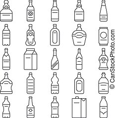 Alcohol drink bottles and beverage vector line icons set