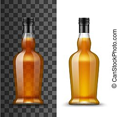Alcohol drink glass bottle isolated vector