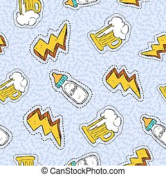 Alcohol drink hand drawn patch seamless pattern