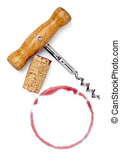alcohol drink wine stain liquid cork opener - close up of a...