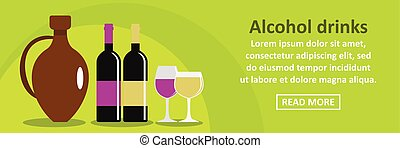 Alcohol drinks banner horizontal concept
