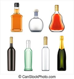Alcohol drinks bottles, vector realistic set
