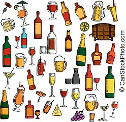 Alcohol drinks, cocktails with snacks sketch icon