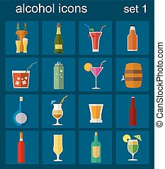 Alcohol drinks icons. 16 flat icons