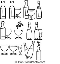 Alcohol drinks - Set of alcohol drinks and symbols for...
