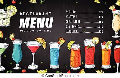 Alcohol drinks menu. Bar brochure template for cafe or restaurant. Vector illustration with hand drawn elements