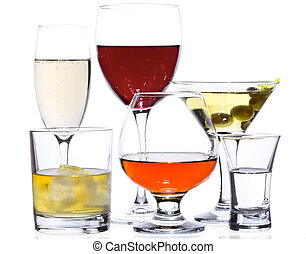 Popular drinks isolated on white: champagne, red wine, martini, whiskey, cognac and vodka