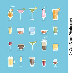 Alcohol drinks set.