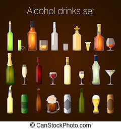 Alcohol drinks set - Alcohol drinks bottles and glass set of...