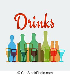 Alcohol drinks vector poster