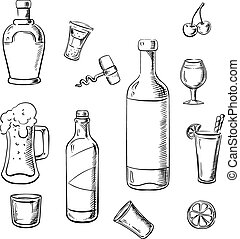 Alcohol drinks, wine bottles and cocktails