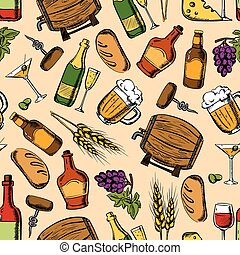 Alcohol drinks with snacks seamless pattern