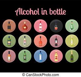 alcohol, en, un, botella, círculo, iconos