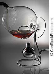 alcohol, en, vidrio, juego, de la luz