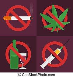 alcohol., ensemble, marijuana., signe., cigarette., prohibition, drogues, icons., objects., syringe.
