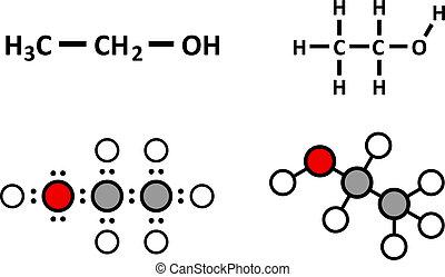 Alcohol (ethanol, ethyl alcohol) molecule, chemical structure.