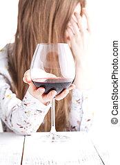 alcohol., femme, drogues, jeune, verre, intoxiqué, vin.