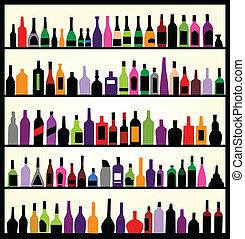 alcohol, flessen, op, de muur
