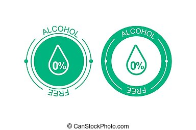 Alcohol free vector icon. Skin and body care cosmetic product medical alcohol free drop and percent symbolEPS